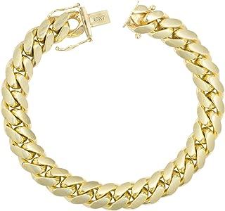 "Mens 10K Yellow Gold Solid 10mm Italian Miami Cuban Chain Bracelet, 8""- 9"""
