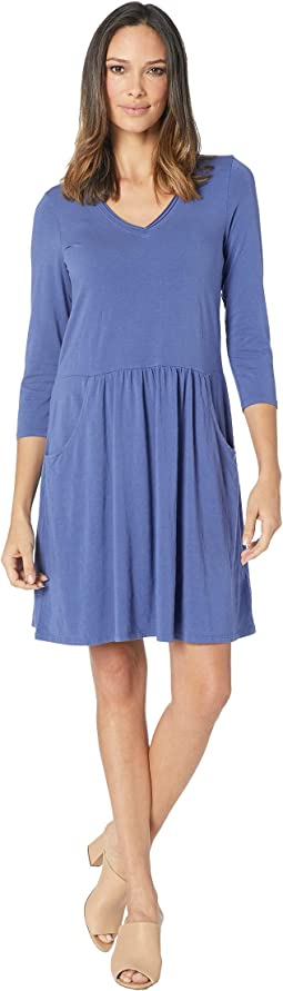 Cotton Modal Spandex Jersey 3/4 Sleeve Easy Fit Dress with Front Pockets