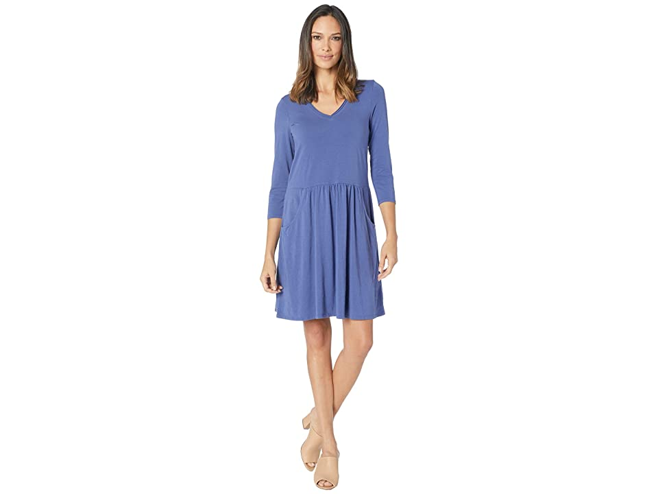 Mod-o-doc Cotton Modal Spandex Jersey 3/4 Sleeve Easy Fit Dress with Front Pockets (Dark Iris) Women