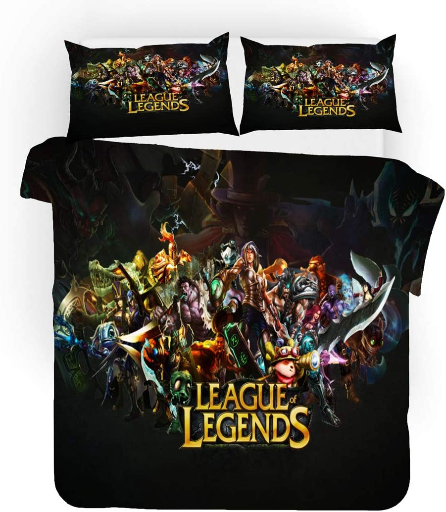 UOUL 3 Pieces of Bedding 3D Three-Dimensional League of Legends Pattern Polyester Fiber Soft and Comfortable for Children and Youth,League of Legends,Twin
