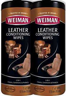 Weiman Leather Wipes - 2 Pack - Clean Condition UV Protection Help Prevent Cracking or Fading of Leather Furniture, Car Se...
