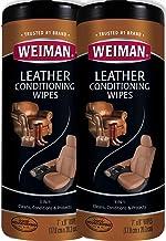 دستمال مرطوب چرم Weiman - 2 Pack - محافظت در برابر اشعه ماوراء بنفش وضعیت جلوگیری از ترک خوردگی یا محو شدن مبلمان چرمی ، صندلی های اتومبیل و داخلی ، کفش و سایر موارد