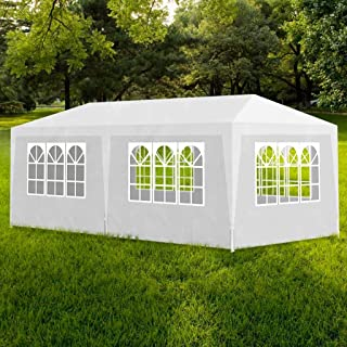 Arichtop Partyzelt Hochwertiges Pavillon Zelt Polyethylen-Plane Gartenzelt Festzelt Wasserdicht Gartenpavillon Partyzelt 3 x 6 m Weiß