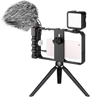 Neewer Smartphone Camera Video Micphone Rig Kit, Phone Video Stabilizer Grip with Video Microphone, Mini LED Video Light, ...