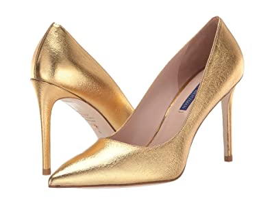 Stuart Weitzman Leigh 95mm Pump (Gold Lame Nappa) Women