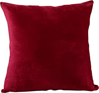 EVOLIVE Soft Micromink Euro Sham Cover Pillowcase Replacement with Zipper Closure (Wine, 26