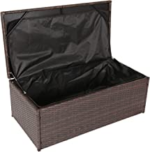 Kinbor Outdoor Wicker Storage Bins Patio Rattan Deck Box Garden Porch Furniture Set,Brown