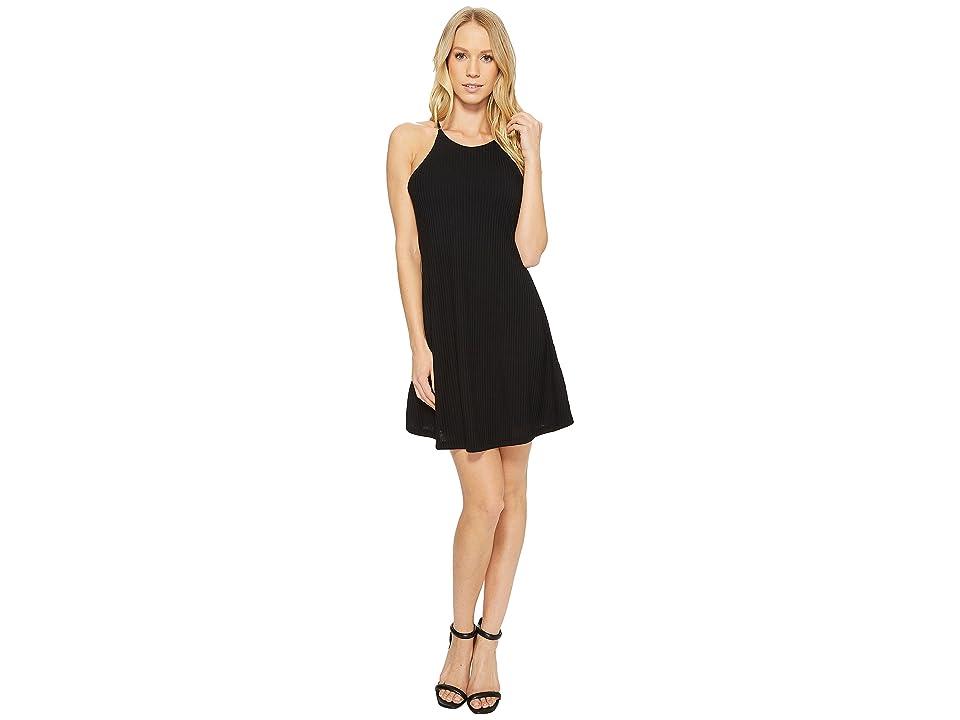 American Rose Victoria Spaghetti Strap Ribbed Dress (Black) Women