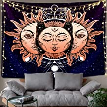 Hexagram Psychedelic Celestial Sun and Moon Tapestry Wall Hanging Hippie Gold Burning Sun Wall Art with Mystic Tarot Card Small Wall Tapestry for Bedroom Living Room Dorm Decor