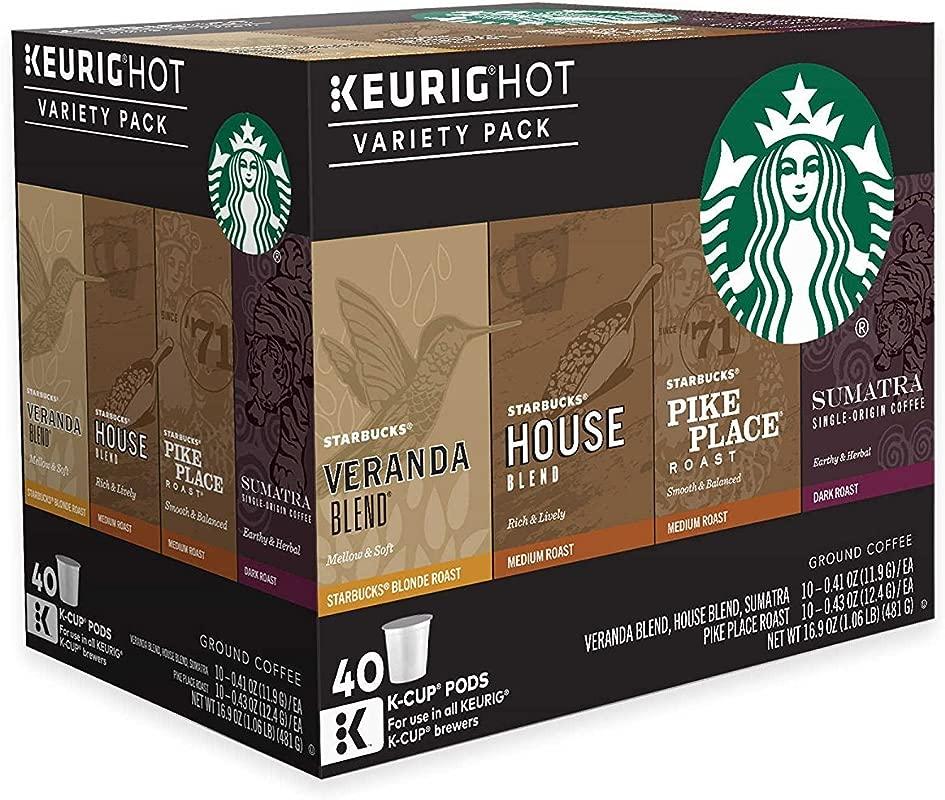 Keurig Starbucks Coffee 40 Ct K Cup Pods Variety Pack