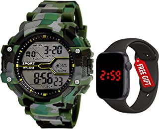 The Shopoholic Sports Digital Men's Watch (Black Dial Green Colored Strap)