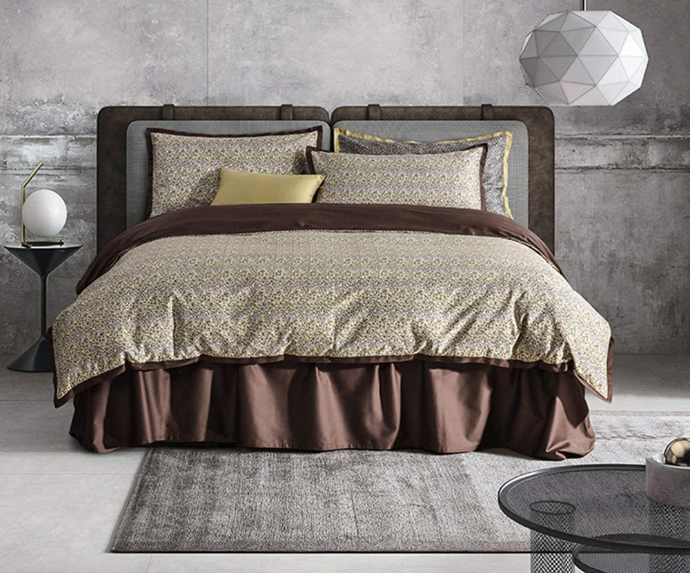 UFO Home 400 Thread Count 100% Long Staple Cotton Leaves Printing Brown Borderline 3pc Duvet Cover Set Full/Queen Size (Dewey, Queen Size)