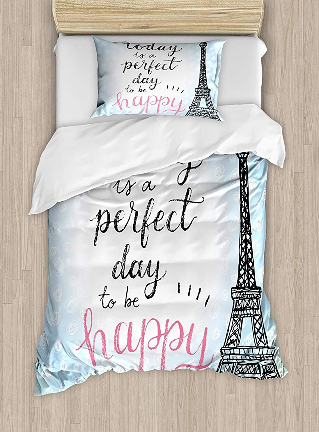 Z&L Home King Size Eiffel Tower Luxury Soft Duvet Cover Set, Perfect Day Eiffel Tower Polka Dot Handwriting Typography Sketch Paris Print, Decorative 4 Pieces Bedding Sets, bluee Black