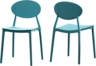 Christopher Knight Home 306511 Brynn Outdoor Plastic Chairs (Set of 2), Teal