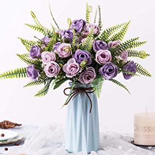 YILIYAJIA Artificial Silk Rose with Vase,30 Head Flowers Bulk Wedding Bouquets with Ceramic Vase Centerpieces for Decoration Table (Purple)