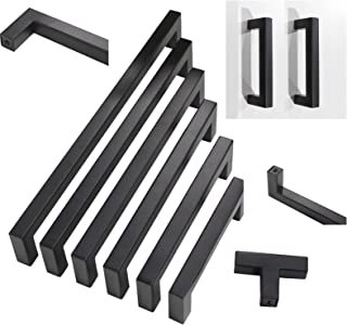 30 pack Probrico Black Stainless Steel Square Corner Bar Cabinet Door Handles Drawer Pulls Knobs 1/2 in Width Hole Centers 6-1/4 inch 160mm