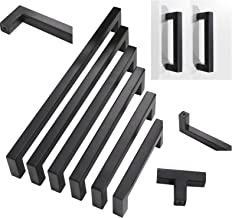 30 pack Probrico Black Stainless Steel Square Corner Bar Cabinet Door Handles Drawer Pulls Knobs 1/2 in Width Hole Centers 5 inch 128mm