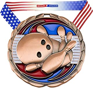 Decade Awards Bowling Color Medal - 2.5 Inch Wide Tournament Medallion with Stars and Stripes American Flag V Neck Ribbon