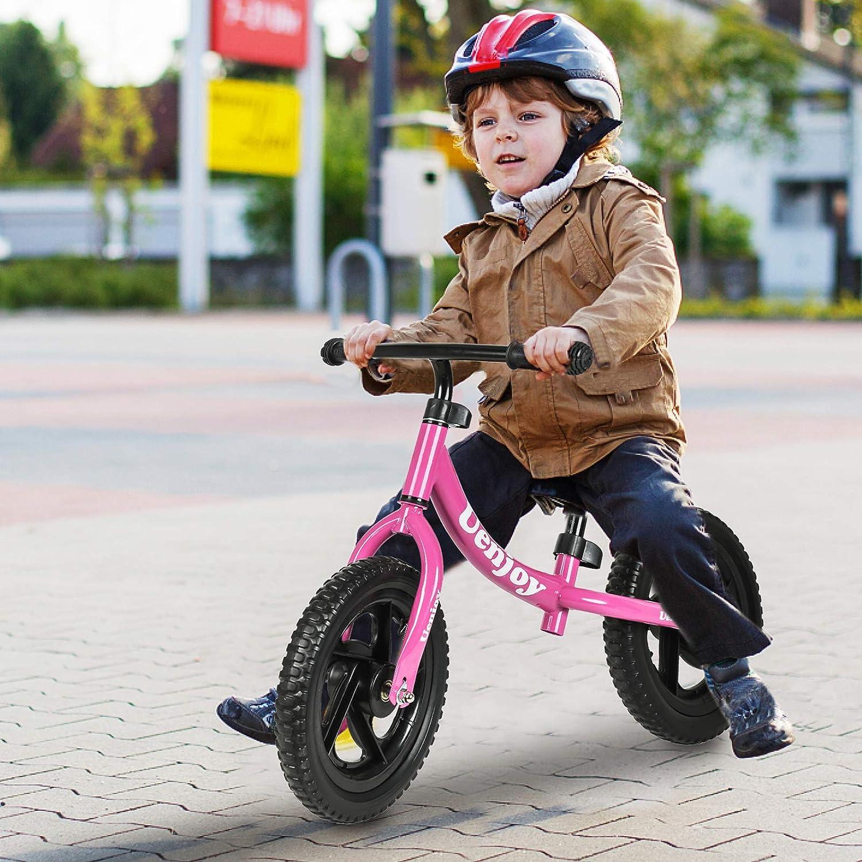 Height Adjustable Toddler Balance Push Bike with 12 EVA Polymer Foam Tire for Children Lightweight Frame, Pink//Black//red Uenjoy Kids Balance Bike for 2-4 Years Old Boys /& Girls