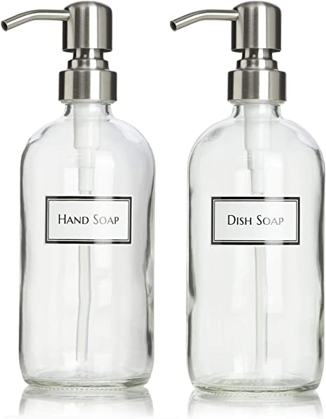 Amazon Com Ceramic Printed Glass Dish Soap And Hand Soap Dispenser Set With Stainless Steel Bird Head Pump 16 Oz Clear Kitchen Dining