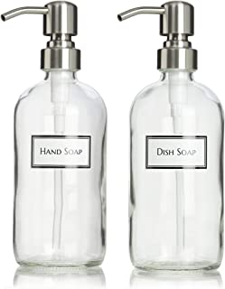 Artanis Home Ceramic Printed Glass Dish Soap and Hand Soap Dispenser Set with Stainless Steel Bird Head Pump, 16 oz, Clear