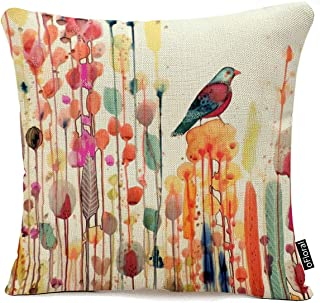 Decorative Cotton Linen Throw Pillow Covers Cushion Cases for Couch Sofa Living Room Bird in Flower Square Pillow Case 18 x 18 Inch