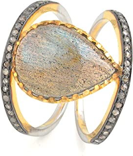 Sterling Silver 925 With 14k Fine Gold Pear Shape Ring With Sparkler Labradorite And 0.31 Carat Naturally Colored Brown Di...