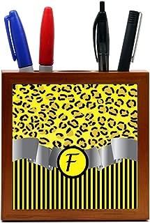 "Rikki Knight RK-PH2300 Letter""F"" Initial Yellow Leopard Print and Stripes Monogrammed Design 5-Inch Wooden Tile Pen Holder (RK-PH2300)"