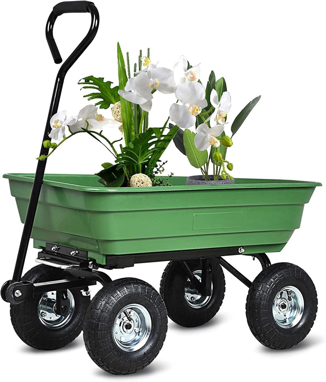 ZeHuoGe Green Cart Poly Pulling Wagon online shopping Garden Car Dump Ranking TOP2