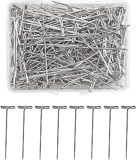 Changrongsheng 200 Pcs T-Pins en Acier Inoxydable, épingles en Forme de T, 51 mm Perruque T Pins pour Couture, Blocage, Tr...