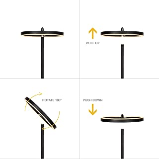 Brightech Halo Flippable LED Torchiere Super Bright Floor Lamp - Tall Standing Modern Pole Light for Living Rooms & Offices - Dimmable Uplight for Reading Books in Your Bedroom etc - Black
