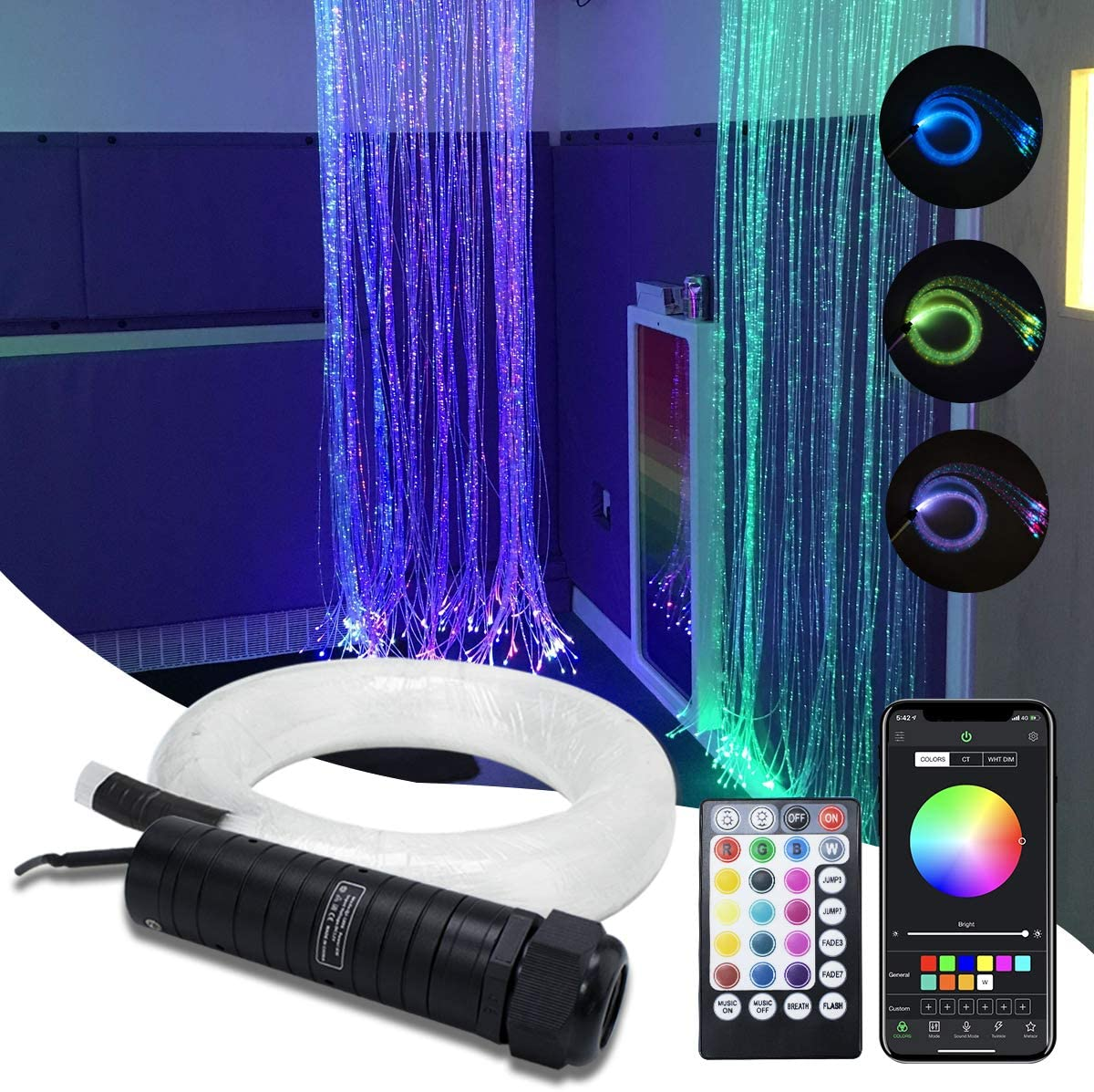 AMKI 6W RGB Fiber Cheap Optic Manufacturer direct delivery Curtain Kit Flash Point Waterfall Light