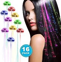 Acooe 16 Pack LED Lights Hair, Light-Up Fiber Optic LED Hair Barrettes Party Favors Party, Bar Dancing Hairpin, Hair Clip, Multicolor Flash Barrettes Clip Braid (16 pcs)