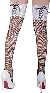 Women's Sexy Fishnet Pantyhose Mesh Thigh High Stockings Vintage Leggings Sleepwear Back Seam Bandage Lace Top Plus Size