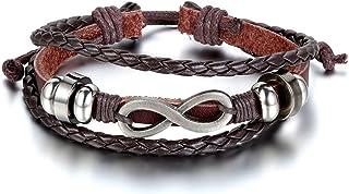 7ef27096faff JewelryWe Joyas Pulsera de Hombre Mujer Cuero Marrón Negro Azul Amor Infinito  Infinity Love Símbolo 8