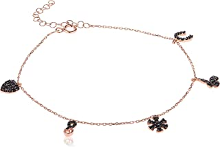 Alwan Silver (Rose Gold Plated) Long Size Anklet for Women - EE5249MSRBX
