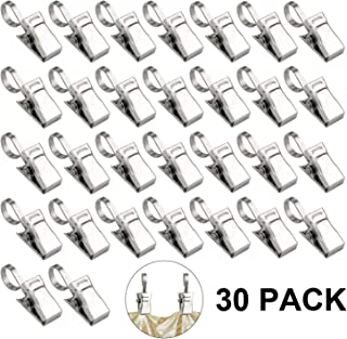 LERTREE 30PCS Heavy Duty Stainless Steel Metal Clips w/Hook for Curtain, Photos, Art Craft Hanger Hanging Clips Home Decoration