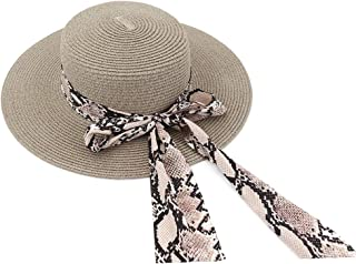 Decoration Bow Tie Hat New Women Outdoor Beach Straw Sun Hat Beach Sunshade Beach Panama Jazz Hat (Color : Light Coffee, Size : 56-58CM)