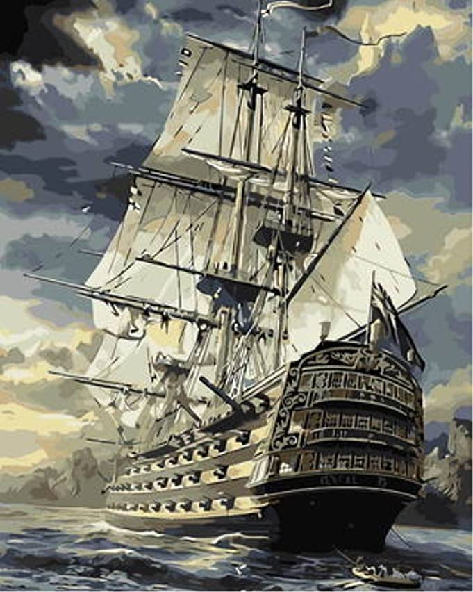 Wowdecor Paint by Numbers Kits for Adults Kids, Number Painting - Warships Pirate Ship at Sea 16x20 inch (Frameless)