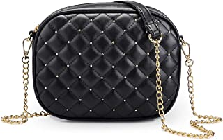 Small PU Leather Crossbody Bag with Metal Chain Strap for Women