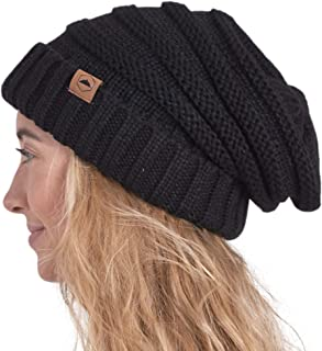 Slouchy Beanie Winter Hat for Women - Slouch Oversized Cable Knit Hats - Cold Weather Warm Chunky...