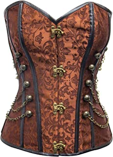 SxyBox Womens Faux Leather Steampunk Bustier Corset Overbust Adjustable Front Zipper with G-String S-2XL