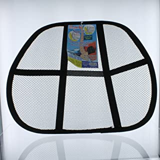 """Bulk Buys Mesh Back Support Rest, Measures Approximately 15"""" x 5"""" x 15"""", Can Easily Attach to Any Chair, Reduces Tension, Lower Back Support, Unique Mesh Fabric Allows Airflow, Black"""
