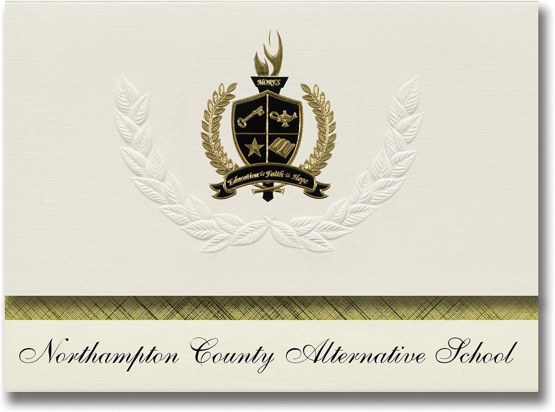Signature Announcements Northampton County Alternative School (Seaboard, NC) Abschlussankündigungen, Präsidential-Elite-Pack, 25 Stück, mit Goldfarbener und schwarzer Metallic-Folienversiegelung B078VDTLNY     Vorzugspreis