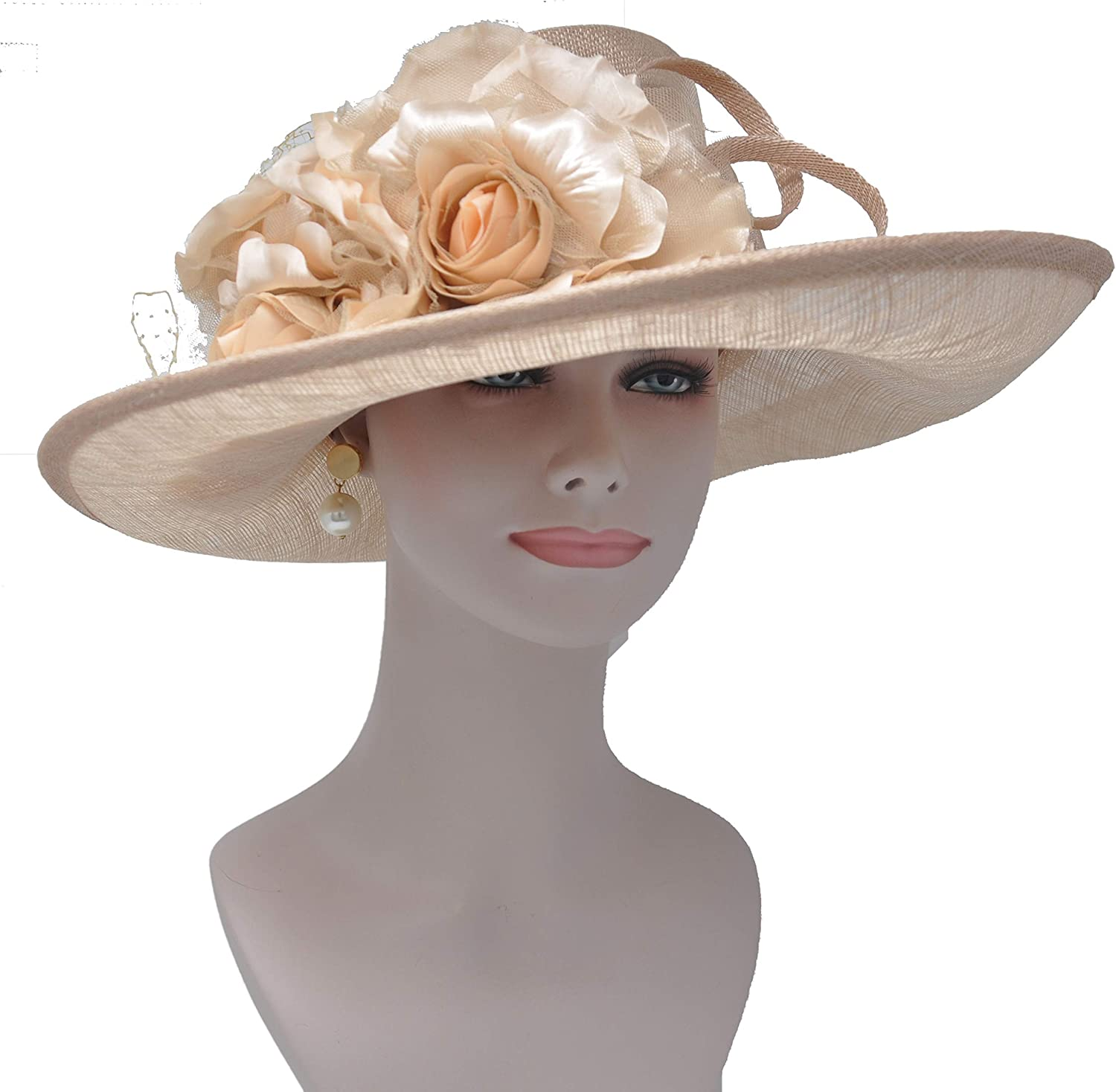 16  Wide Brim Sinamay Hat With Satin Flowers For Church,Eastern,kentukey Derby champagneSM7053