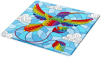Ambesonne Stained Glass Cutting Board, Hummingbird Clouds Sky Mosaic Illustration, Decorative Tempered Glass Cutting and Serving Board, Large Size, Sky Blue Multicolor