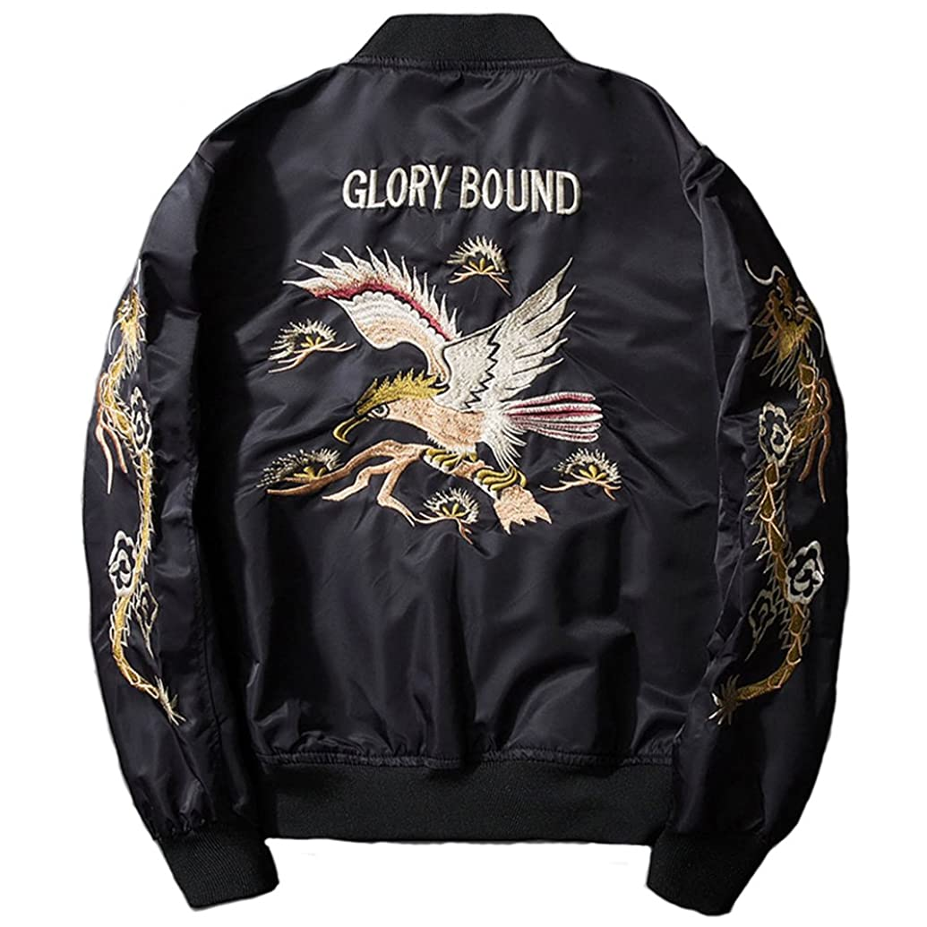 返還含める急速なブルゾン バイクジャケット レザー 刺繍 ミリタリー 横須賀ファッション 中綿入り 和風和柄 パーティー B2018