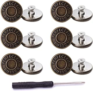 ICEYLI 12 Pcs Replacement Jean Buttons,20mm No-Sew Nailess Removable Metal Buttons Replacement Repair Combo Thread Rivets ...