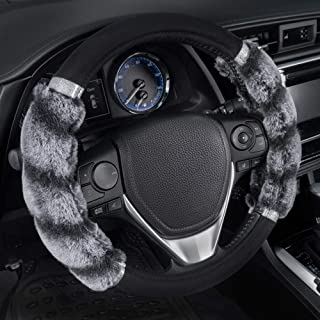 BDK Bear Fur Plush Steering Wheel Cover - Cute Faux Wool Protector for Women Girls Universal Size 14.5 15 15.5 Inch (Two Tone Black/Gray - with Glitter), SW-2431-GR