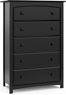 Stork Craft Kenton 5 Drawer Universal Dresser, Black